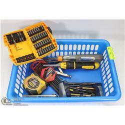 BIN OF ESTATE TOOLS, INCLUDES DEWALT DRILL BITS,