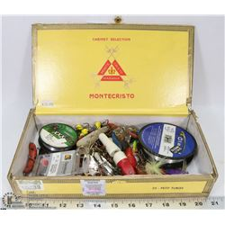 CIGAR BOX FULL OF FISHING LURES, HOOKS
