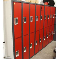 BANK OF RED LOCKERS, 9 DOUBLE UNITS