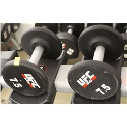 PAIR OF UFC 7.5 LB DUMBBELLS