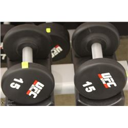 PAIR OF UFC 15 LB DUMBBELLS