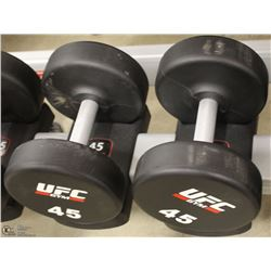 PAIR OF UFC 45 LB DUMBBELLS