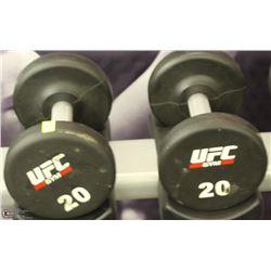 PAIR OF UFC 20 LB DUMBBELLS