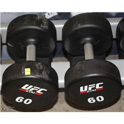 PAIR OF UFC 60 LB DUMBBELLS