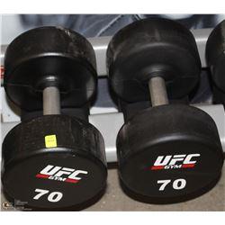 PAIR OF UFC 70 LB DUMBBELLS