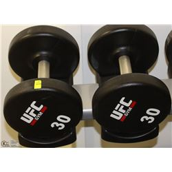 PAIR OF UFC 30 LB DUMBBELLS