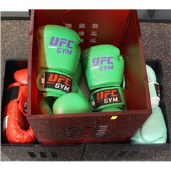 3 BINS OF USED ADULT BOXING GLOVES
