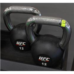PAIR OF 12KG UFC KETTLEBELLS