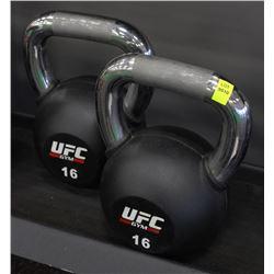PAIR OF 16KG UFC KETTLEBELLS
