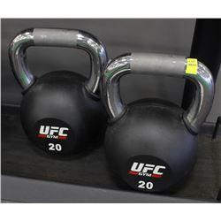 PAIR OF 20KG UFC KETTLEBELLS