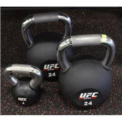 PAIR OF 24KG UFC KETTLEBELLS WITH 4KG KETTLEBELL
