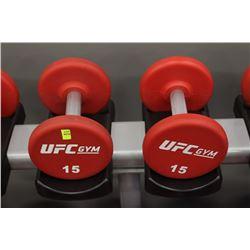 PAIR OF 15LB UFC DUMBBELLS