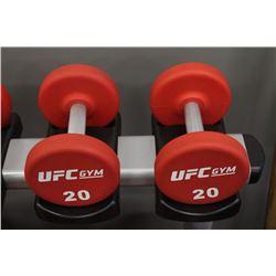 PAIR OF 20LB UFC DUMBBELLS