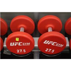 PAIR OF 27.5LB UFC DUMBBELLS