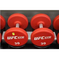 PAIR OF 30LB UFC DUMBBELLS
