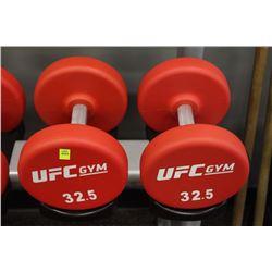 PAIR OF 32.5LB UFC DUMBBELLS
