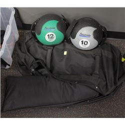 LOT OF 2 SMALL MEDICINE BALLS AND SAND BAGS