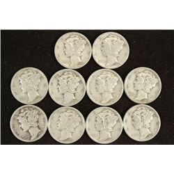 10 ASSORTED 1940'S MERCURY DIMES