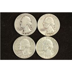 1943,57,62-D & 64 WASHINGTON SILVER QUARTERS