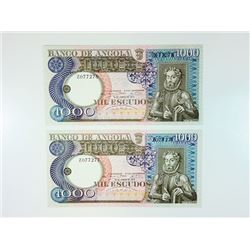 Banco De Angola, 1973 Replacement Note Pair.