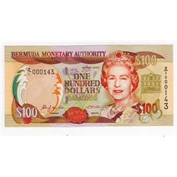 Bermuda Monetary Authority, 2000 Issued Replacement Banknote with Low Serial Number.