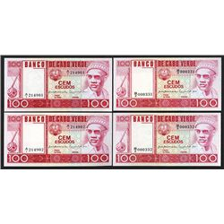 Banco De Cabo Verde, 1977 Lot of 2 Sequential Pairs (4 notes).