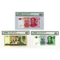 Peoples Bank of China, 1990-2015, Issued Trio some w/Fancy Serials
