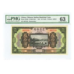 Chinese Italian Banking Corp., 1921 Remainder Issue Banknote.