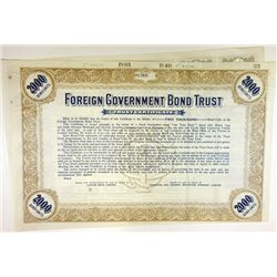 Foreign Government Bond Trust, 1934 Bond-Units Specimen Certificate