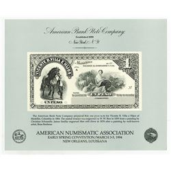 American Bank Note Specimen 1994 Numismatic Souvenir Card with Colombia Banknote Proof.