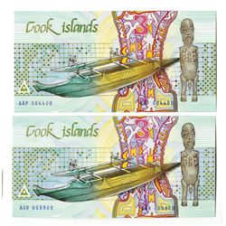 Cook Islands, 1987, Pair of Two Digit Radar Notes