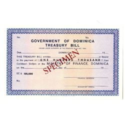 Government of Dominica Treasury Bill, 1969 Specimen Banknote.
