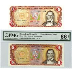 Banco Central de la Republica Dominicana, 1984-1988, Pair of Replacement & Radar Notes