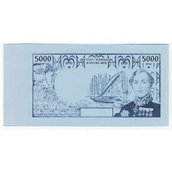 French Administration, Institut D'Emission D'Outre-Mer, ND ca.1996 Proof Back Essay Banknote.