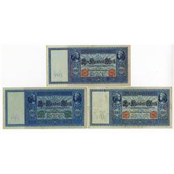 Reichsbanknote, 1909 & 1910 Banknote Trio.