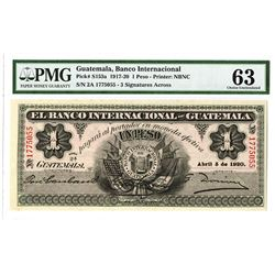 Banco Internacional de Guatemala, 1920 Issued Banknote.