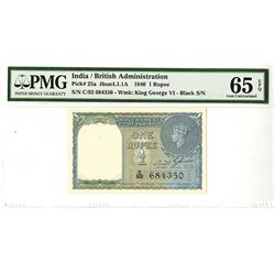 Government of India, 1940, 1 Rupee, P-25a, Jhun4.1.1A, Issued banknote.