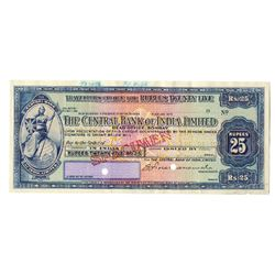 Central Bank of India, 1936 Traveler's Check Specimen.