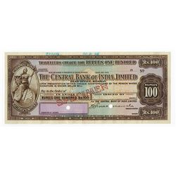 Central Bank of India, Ltd, 1926 Specimen/Proof Traveler's Check.