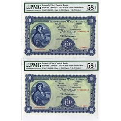Central Bank of Ireland, 1957 Sequential Issue Banknote Pair.