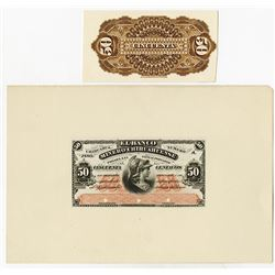 Banco Minero Chihuahuense 1880 Proof Face & Back Banknotes.