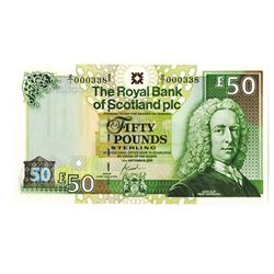 Royal Bank of Scotland plc, 2005 Issued Replacement Banknote with Low S/N.