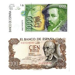 Banco de Espana, 1970-1992, Pair of Replacement Notes