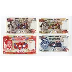 Bank of Uganda, ND (1973-83) Specimen Banknote Quartet.