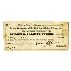 Edward H. Garnsey, Sutler, 6th Reg't Maine Volunteers, 1862 Scrip Note.