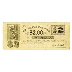 Ezra B. Lake, New Brooklin Glass Works, ND (1860's) Obsolete Scrip Note.