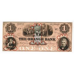 Orange Bank in the County of Essex, ca.1850's Proof Obsolete Banknote.