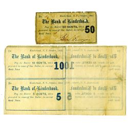 Bank of Kinderhook, 1862 Issued Single 50cts Note and Uncut Block of 4 Obsolete Scrip Notes.