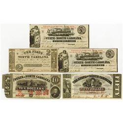 State of North Carolina, 1861 to 1863 Obsolete Banknotes.