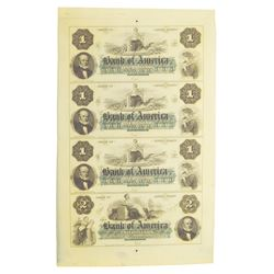 Bank of America ca.1850s  Uncut Obsolete Banknote Sheet $1-1-1-2